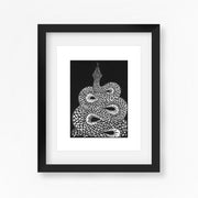 Snake Lino Print in Black and White by Hex Cavelli, Dorset Printmaker