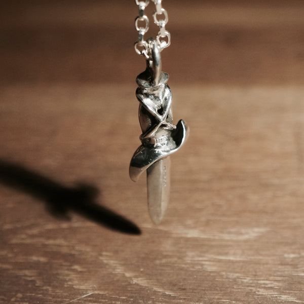 Back of the silver dagger pendant | Knife Necklace | Hex Cavelli Pendant