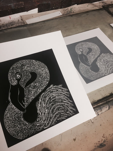 Flamingo Lino Print Printmaking in Poole, Dorset