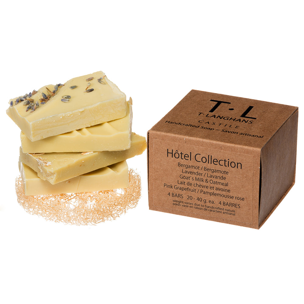 Hotel Collection 4 Castile Bars Handcut 20g - 40g - Lavender, Pink Grapefruit, Bergamot, Goat's Milk & Oatmeal