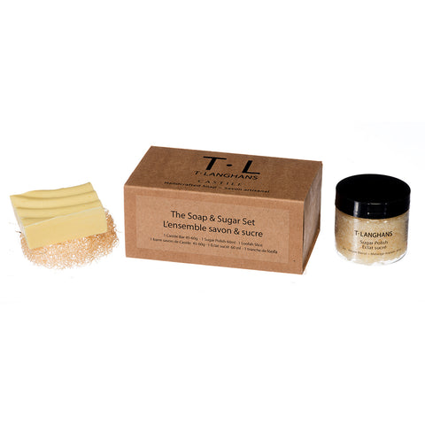 The Soap & Sugar Set 1 Castile Bar 45g - 60g, 1 Sugar Polish 60ml, 1 Loofah Slice