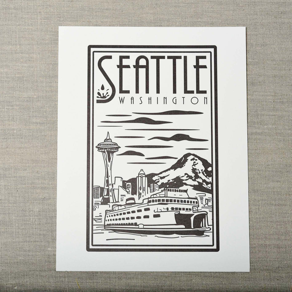 Seattle Linocut Art Print, Seattle/ Northwest, Pike Street Press, Pike Street Press- Pike Street Press