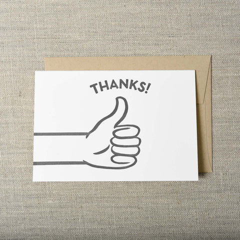 Thumbs Up Thank You Letterpress Greeting Card, Thank You, Pike Street Press, Pike Street Press- Pike Street Press