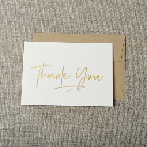 Gold Foil Thank You Letterpress Greeting Card