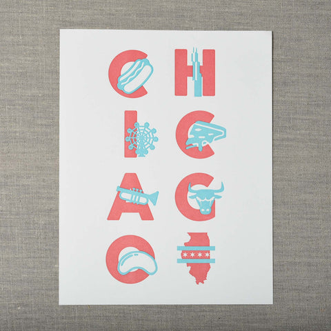 Chicago Type Letterpress Art Print, Seattle/ Northwest, Pike Street Press, Pike Street Press- Pike Street Press