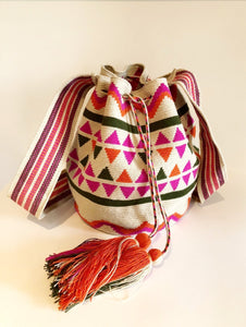 Medium Crossover Mochila Bag Geo Multi Ecru with Multi Triangular Design - Khabodesigns