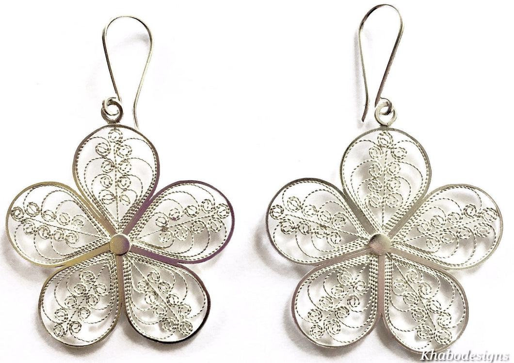 Filigree Flower Sterling Silver Earrings - Khabodesigns