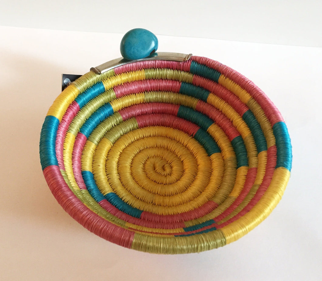 Handwoven Multi-Colored Bowl with Alpaca Trimming and Tagua Seed - Khabodesigns