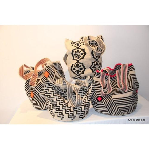 XL Tote Style Mochila Bags in Ecru and Black - Khabodesigns