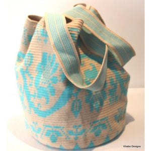 XL Tote Mochila Bag in Ecru and Aqua - Khabodesigns