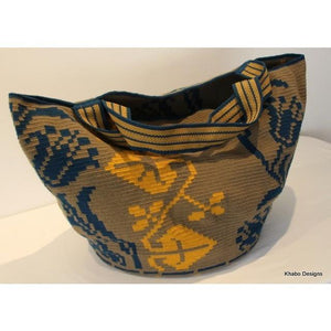 XL Mochila - Tote Style in Blue and Mustard - Khabodesigns