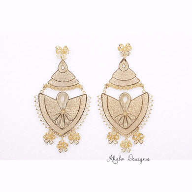 Filigree Lace Drop Sterling Silver Earrings with Gold Plating - Khabodesigns