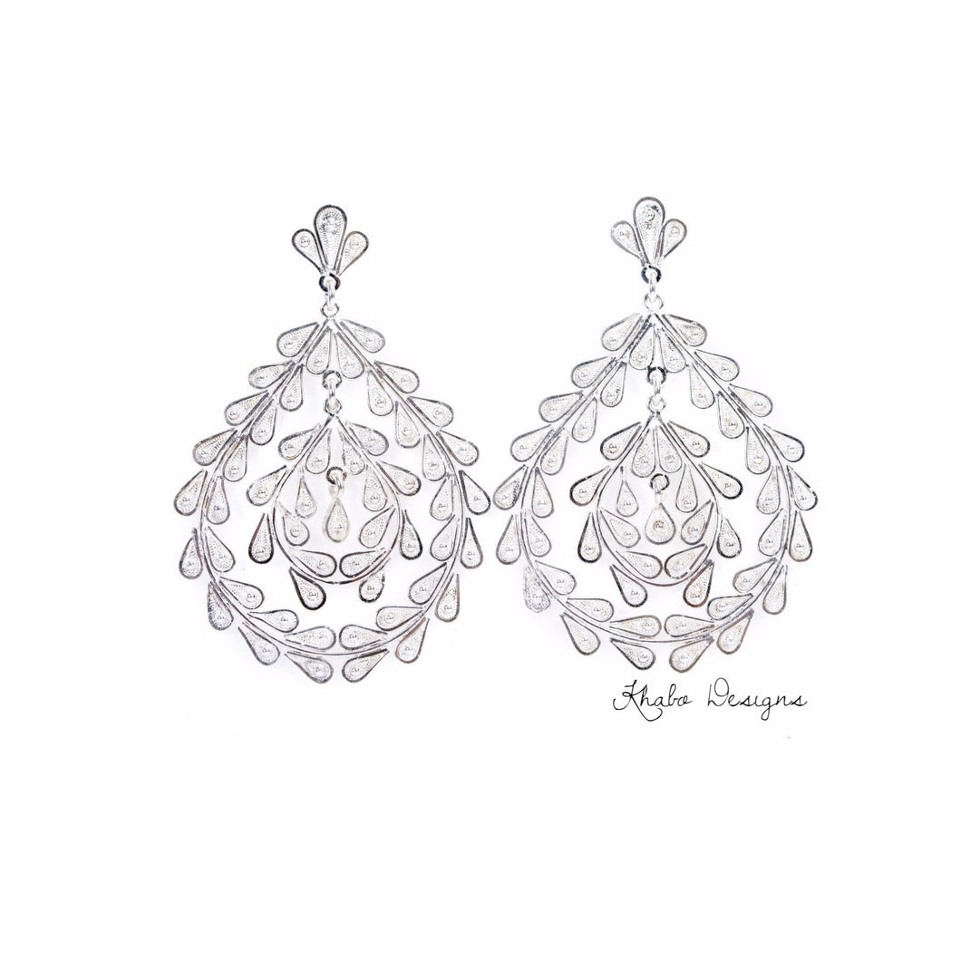 Filigree Raindrop Sterling Silver Earrings - Khabodesigns