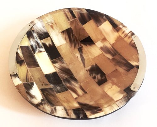 Lacquered Wood and Horn Round Centerpiece Bowl with Alpaca Silver Detailing - Khabodesigns