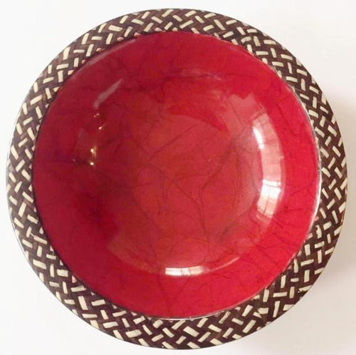 Handmade Wooden Bowl Laquered in Red with Cana Flecha Trim - Khabodesigns