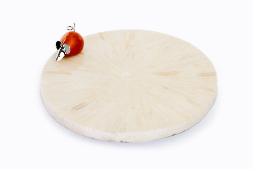Round Rotating Ivory Colored Cheese Board with Decorative Mouse Piece - Khabodesigns