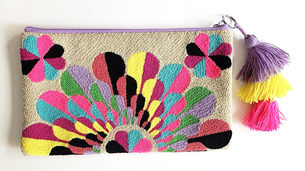 Tassel Clutch Bag - Loop knit - Khabodesigns