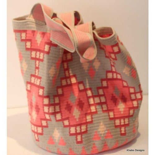 XL Tote Mochila Bag Grey with Peach Geometric Design - Khabodesigns