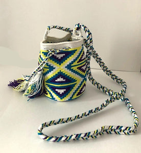 Ecru  with Ocean Blue, Purple and Yellow Geo Small Crossbody or Shoulder Mochila Bags - Khabodesigns