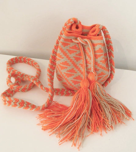 Ivory and Neon Orange Geo Small Crossbody or Shoulder Mochila Bag - Khabodesigns