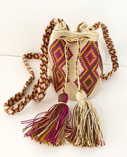 Sand with Violet, Mustard and Brown Geo Small Crossbody or Shoulder Mochila Bag - Khabodesigns