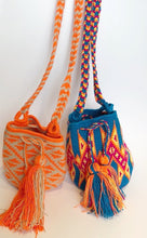Blue with Orange Geo Small Crossbody or Shoulder Mochila Bag - Khabodesigns
