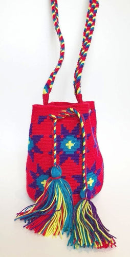 Red with Purple and Blue Geo Stars Small Crossbody or Shoulder Mochila Bag - Khabodesigns