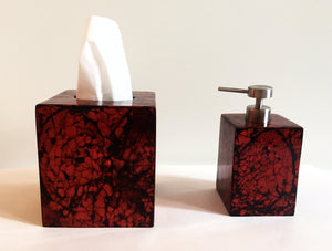 Handmade Vaneered Maroon Mother of Pearl Soap Dispenser - Khabodesigns