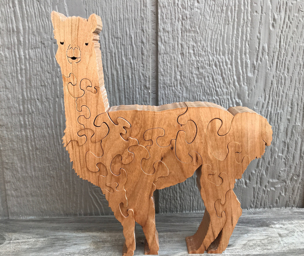 Puzzle-Hand Crafted Standing Alpaca-Click on the dots under the photo for more photos