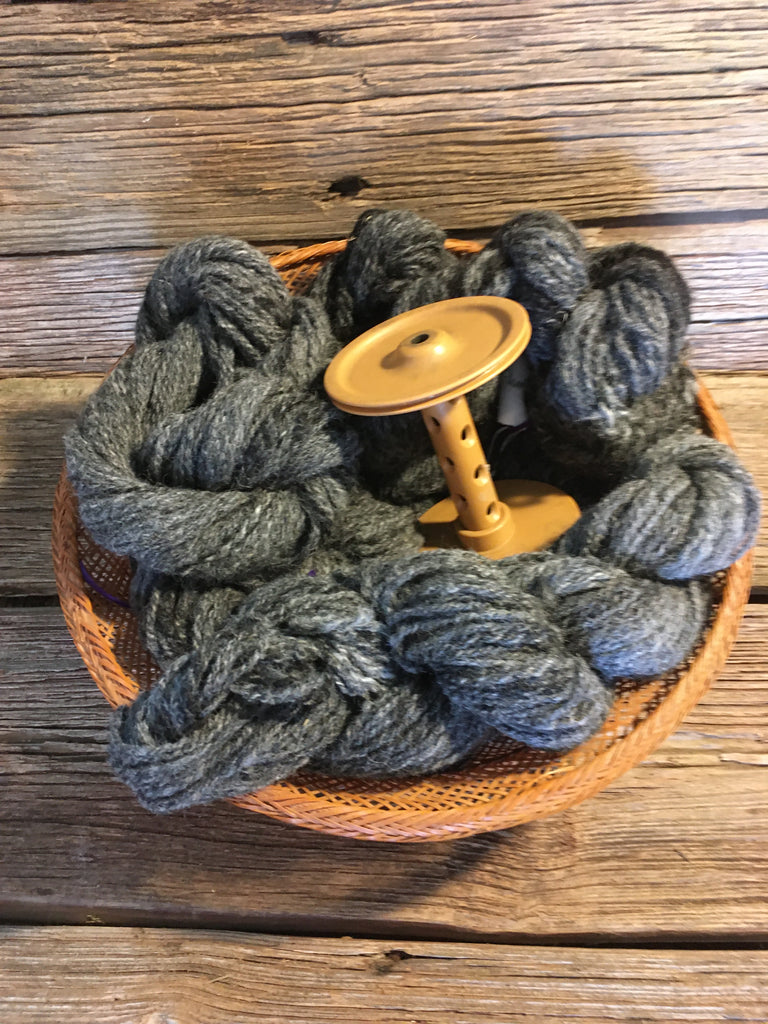 Handspun Alpaca Yarn #5 2 ply DK weight Dark Gray Call to order!
