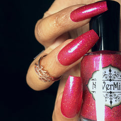 NeVerMind polish pink red nail polish swatch