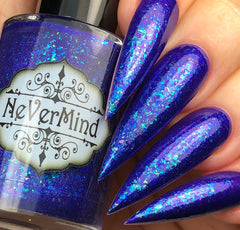 NeVerMind Polish - Le Fay January PPU Blurple polish with auqua flakes