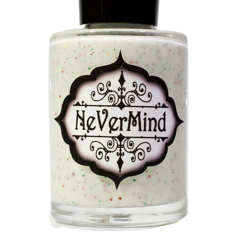 NeVerMind Polish - Christmas Cookies - Crelly with red and green micro glitter Winter Solstice collection