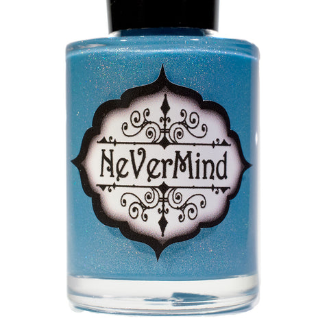 NeVerMind Polish - Frozen Moon - light blue Holographic holo polish - Winter Solstice collection