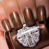 NeVerMind Polish - Bibilophilia - brown holo with shimmer - holographic nail lacquer