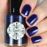 NeVerMind Polish - Winter's Eve - Deep Purple with blue/purple mircoflakies - Winter Solstice collection
