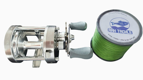 RAH CL50 Classic Round Baitcasting Reel and 547 Yard 60lb Test Line Braided Fishing Line Bundle - RAH Tackle™