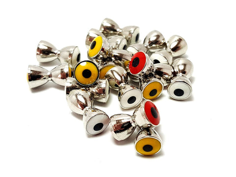 RAH Fishing Fly Tying Dumbbell Eyes- Brass with Nickel finish- 25 Pack