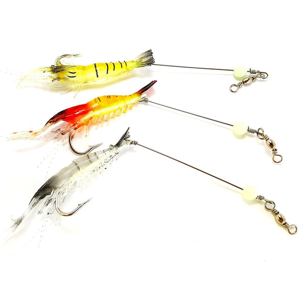 RAH Soft Lure Shrimp Bait Set With Attached Leader & Fluorescent Effect Bead - RAH Tackle™