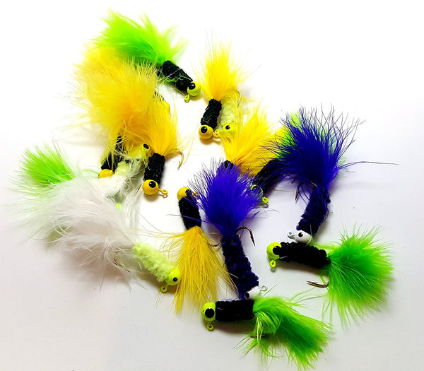 RAH Crappie Jigs - Assorted Colors - Lead Head Hook With Marabou Tail
