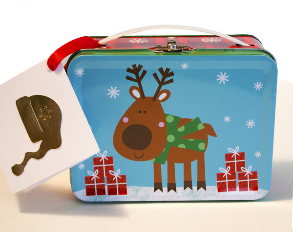 Image of a holiday lunchbox gift tin that contains homemade marshmallows and signature hot cocoa mix from Benedidict Treats