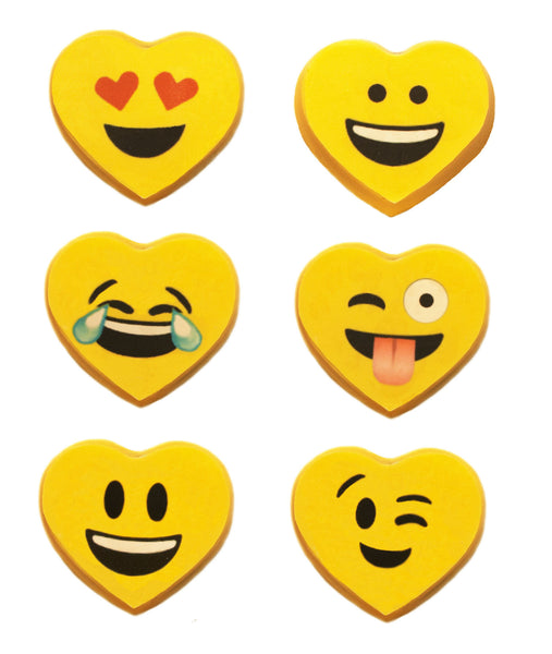 Image of 6 vibrant yellow heart emoji oreos® for Valentine's Day, birthday, get well, or special occasion cookie gift delivery from Benedict Treats