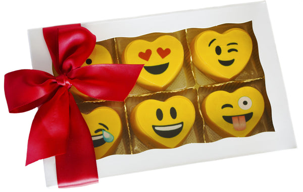 Image of 6 vibrant yellow heart emoji oreos® in gift box with a red satin bow for Valentine's Day, birthday, get well, or special occasion mail cookie delivery from Benedict Treats