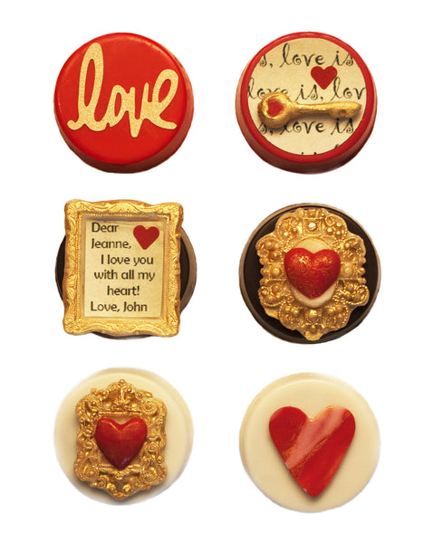 Image of gorgeous personalized Valentine's Day chocolate covered Oreos® from Benedict Treats