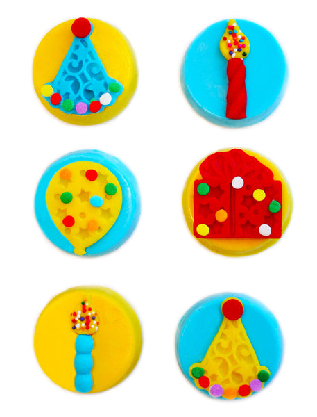Image of candy coated oreos® with fun designs on top as a birthday gift from Benedict Treats