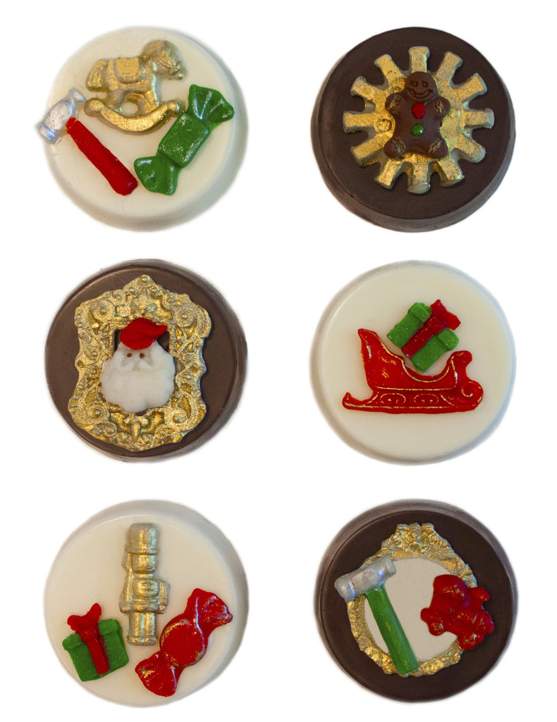 Image of chocolate covered oreos® with a Santa's Workshop design as a Christmas cookie delivery gift from Benedict Treats