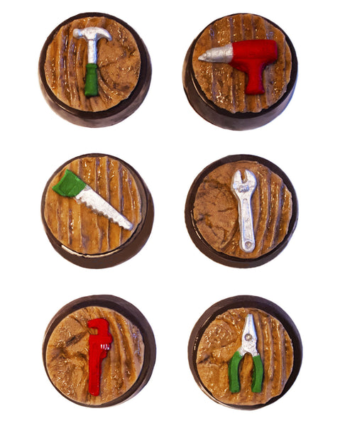 Image of mini edible tools on chocolate covered oreos as a guy gift for holiday or Christmas cookie delivery from Benedict Treats