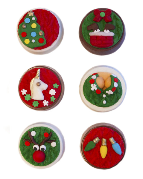 Image of chocolate covered oreos with an ugly christmas sweater design as a holiday or christmas cookie delivery gift from Benedict Treats