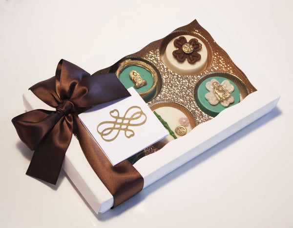 Image of beautiful zen garden design chocolate covered oreos in a nice white gift box with a chocolate satin bow as a thank you or thinking of you cookie delivery gift from Benedict Treats