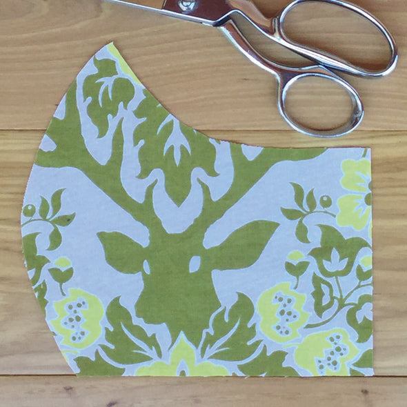 Antlers Pale Green on White ~ Adult Mask w/ Filter Pocket